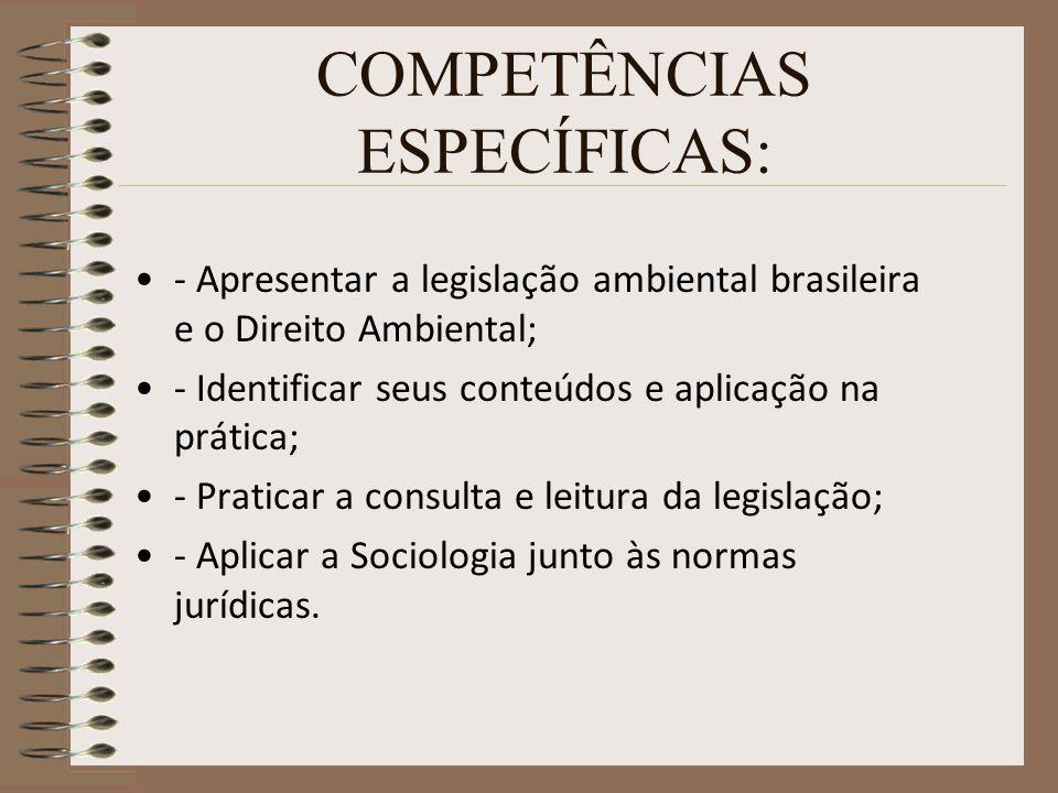 COMPETÊNCIAS ESPECÍFICAS: