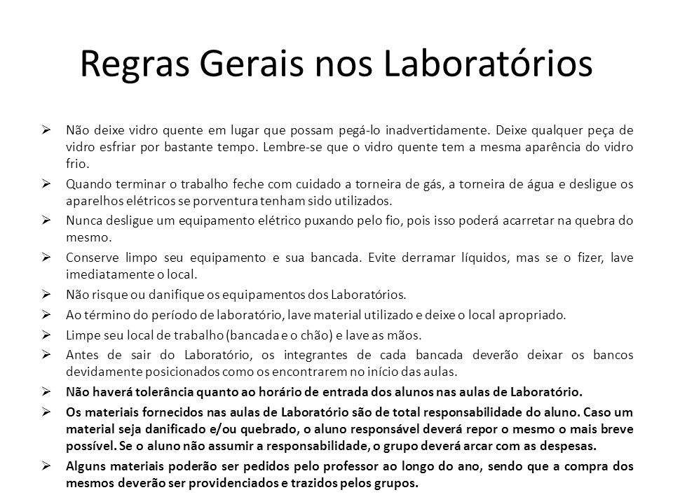 Regras para uso do laboratorio de ciencias