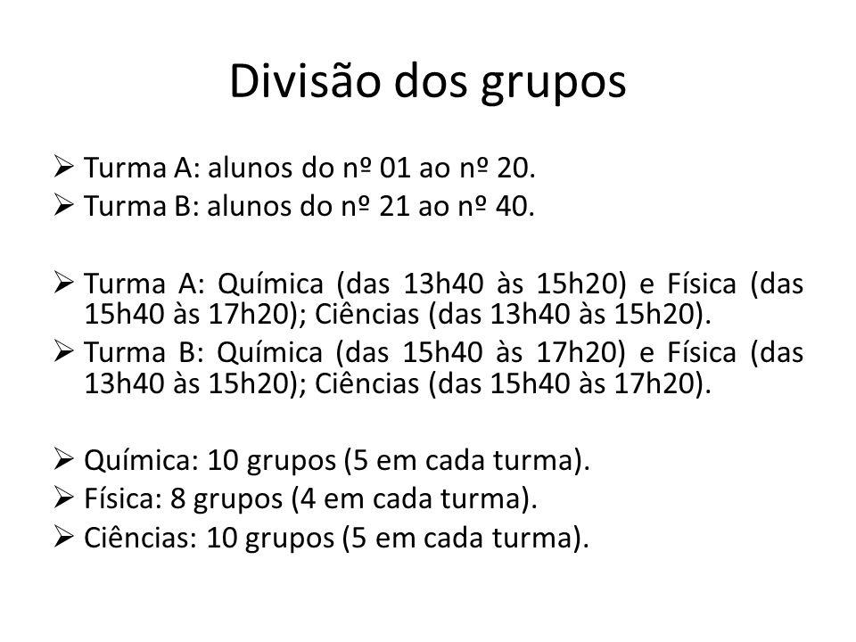 Divisão dos grupos Turma A: alunos do nº 01 ao nº 20.