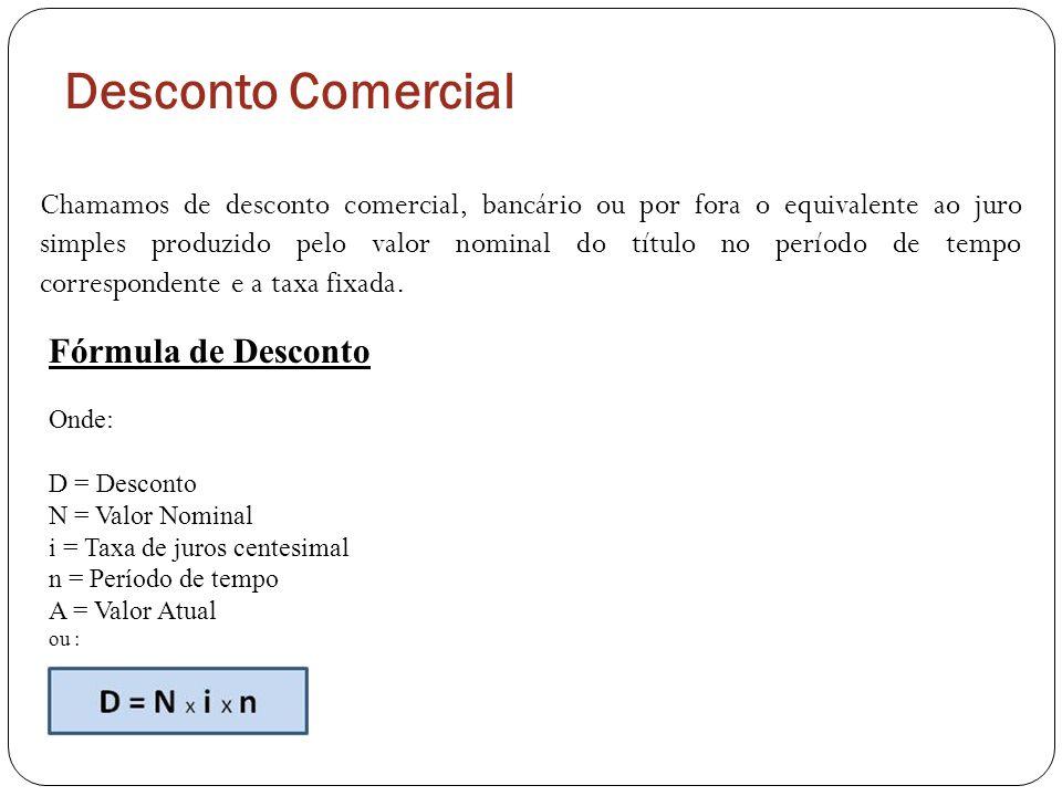 Desconto Comercial Fórmula de Desconto