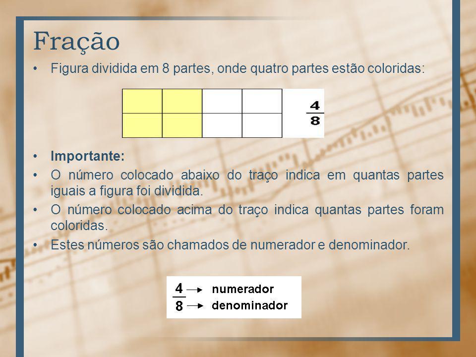 Fração Figura dividida em 8 partes, onde quatro partes estão coloridas: Importante: