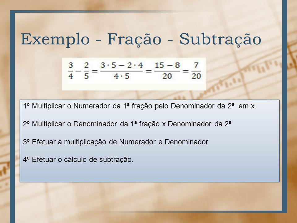 Exemplo - Fração - Subtração