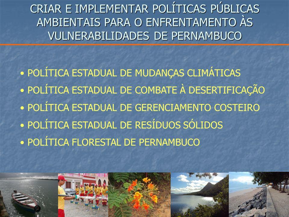 CRIAR E IMPLEMENTAR POLÍTICAS PÚBLICAS AMBIENTAIS PARA O ENFRENTAMENTO ÀS VULNERABILIDADES DE PERNAMBUCO