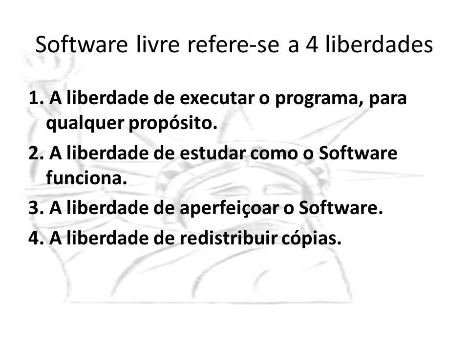 Software livre refere-se a 4 liberdades