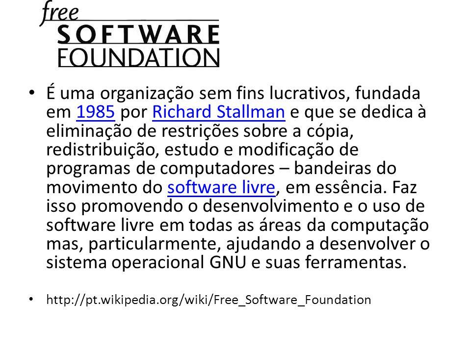 É uma organização sem fins lucrativos, fundada em 1985 por Richard Stallman e que se dedica à eliminação de restrições sobre a cópia, redistribuição, estudo e modificação de programas de computadores – bandeiras do movimento do software livre, em essência. Faz isso promovendo o desenvolvimento e o uso de software livre em todas as áreas da computação mas, particularmente, ajudando a desenvolver o sistema operacional GNU e suas ferramentas.