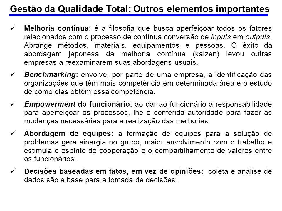 Gestão da Qualidade Total: Outros elementos importantes