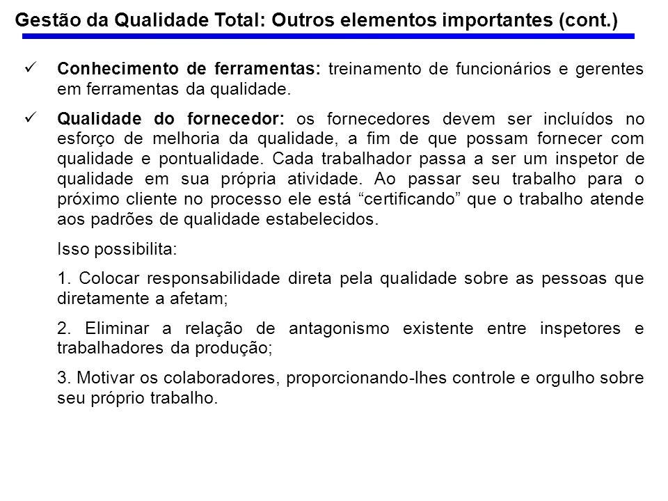 Gestão da Qualidade Total: Outros elementos importantes (cont.)