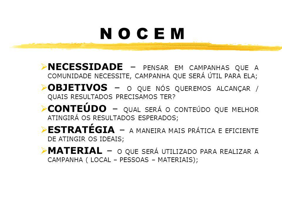 N O C E M NECESSIDADE – PENSAR EM CAMPANHAS QUE A COMUNIDADE NECESSITE, CAMPANHA QUE SERÁ ÚTIL PARA ELA;