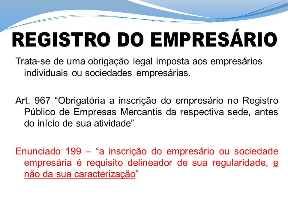 REGISTRO DO EMPRESÁRIO