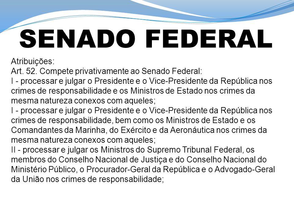 SENADO FEDERAL Atribuições: