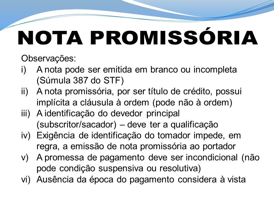 NOTA PROMISSÓRIA Observações: