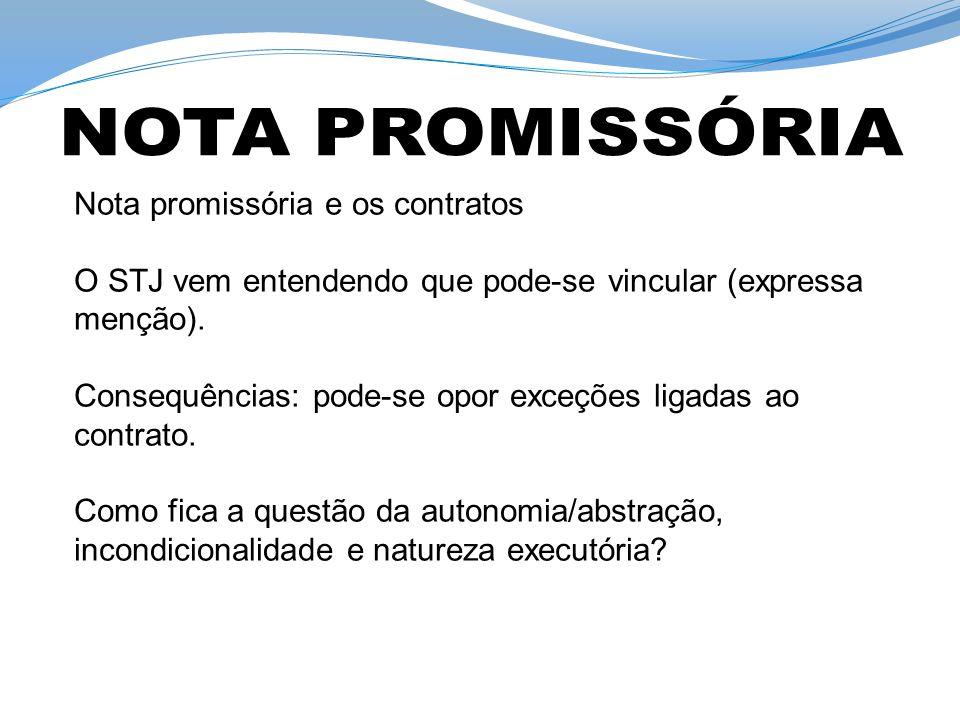 NOTA PROMISSÓRIA Nota promissória e os contratos