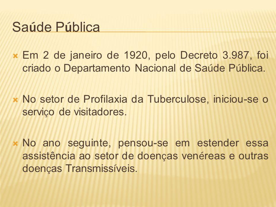 Saúde Pública Em 2 de janeiro de 1920, pelo Decreto 3.987, foi criado o Departamento Nacional de Saúde Pública.