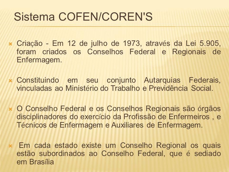 Sistema COFEN/COREN S Criação - Em 12 de julho de 1973, através da Lei 5.905, foram criados os Conselhos Federal e Regionais de Enfermagem.