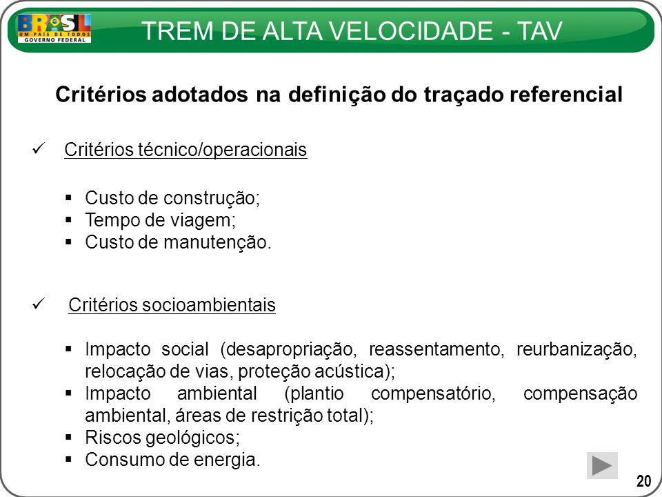 Critérios adotados na definição do traçado referencial