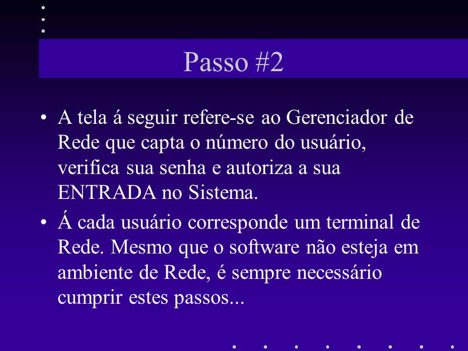 Passo #2 A tela á seguir refere-se ao Gerenciador de Rede que capta o número do usuário, verifica sua senha e autoriza a sua ENTRADA no Sistema.