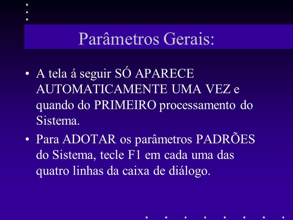 Parâmetros Gerais: A tela á seguir SÓ APARECE AUTOMATICAMENTE UMA VEZ e quando do PRIMEIRO processamento do Sistema.