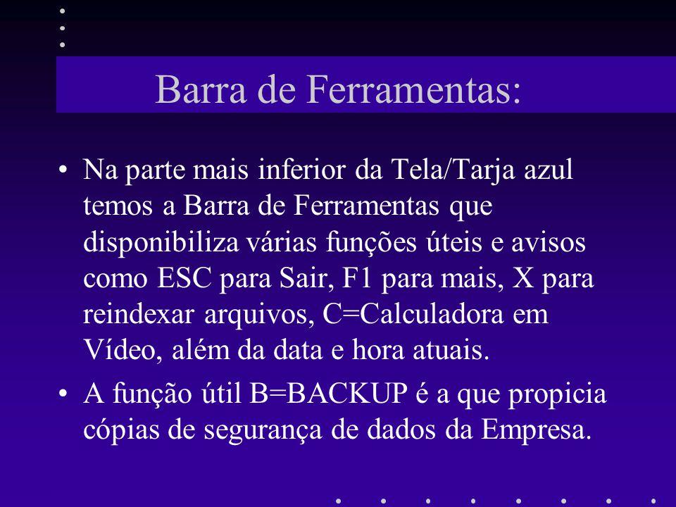 Barra de Ferramentas: