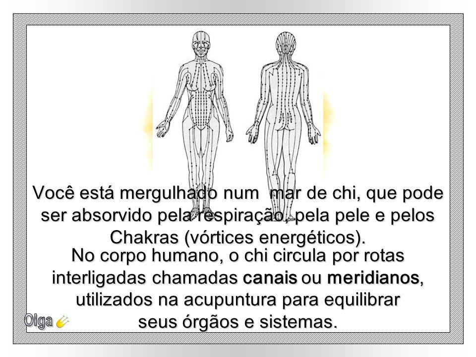 Você está mergulhado num mar de chi, que pode ser absorvido pela respiração, pela pele e pelos Chakras (vórtices energéticos).