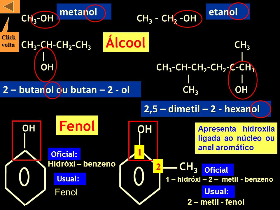 Álcool Fenol metanol etanol 2 – butanol ou butan – 2 - ol