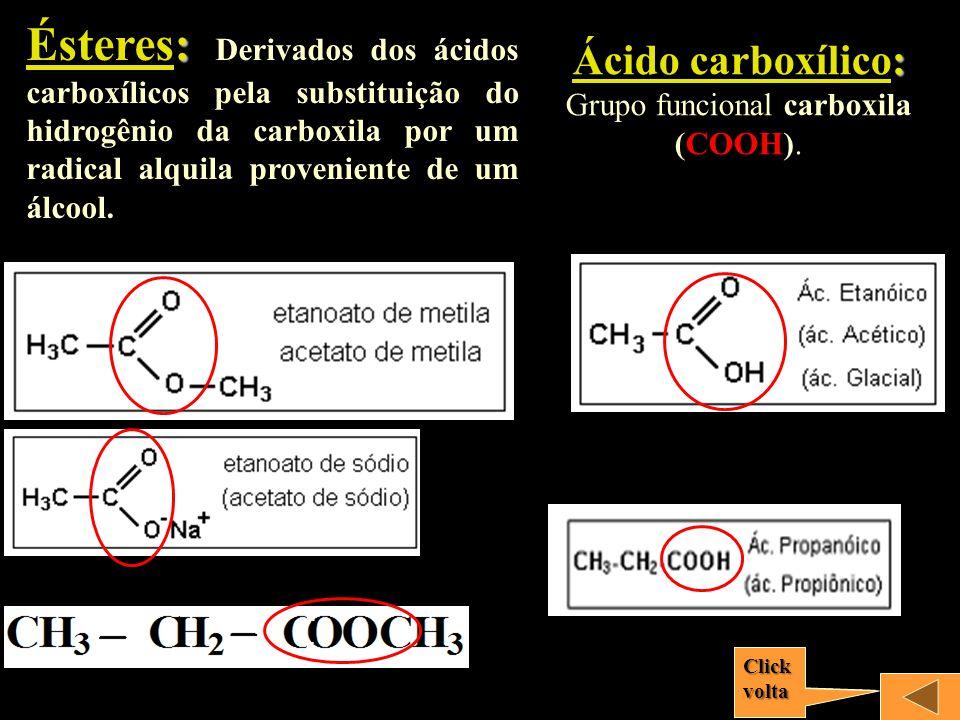 Ácido carboxílico: Grupo funcional carboxila (COOH).