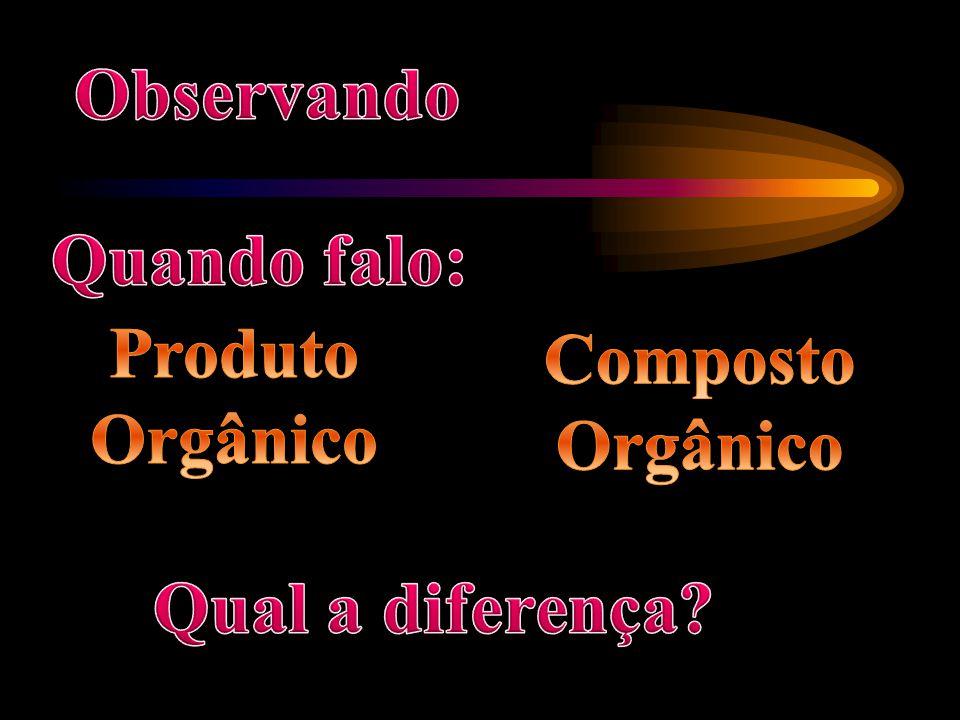 Observando Quando falo: Produto Orgânico Composto Orgânico Qual a diferença