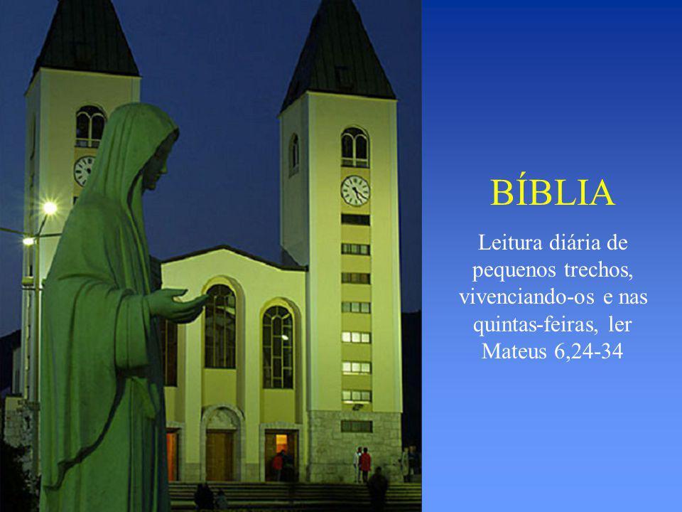 BÍBLIA Leitura diária de pequenos trechos, vivenciando-os e nas quintas-feiras, ler Mateus 6,24-34