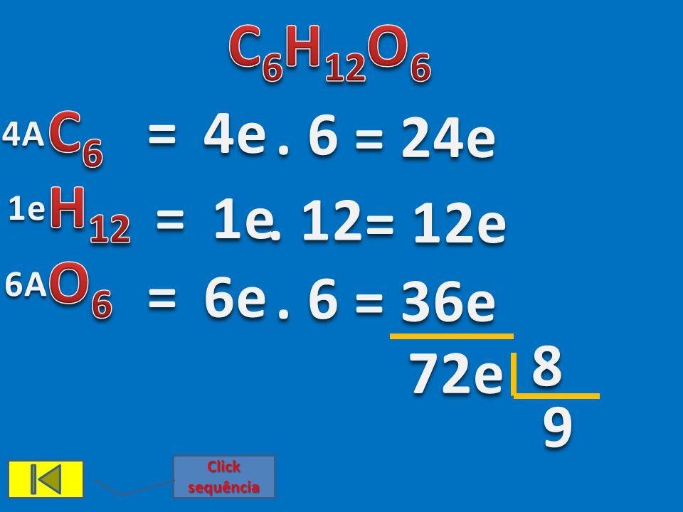 C6H12O6 C6 H12 O6 = 4e . 6 = 24e 4A = 1e 1e . 12 = 12e 6A = 6e . 6 = 36e 8 72e 9 Click sequência