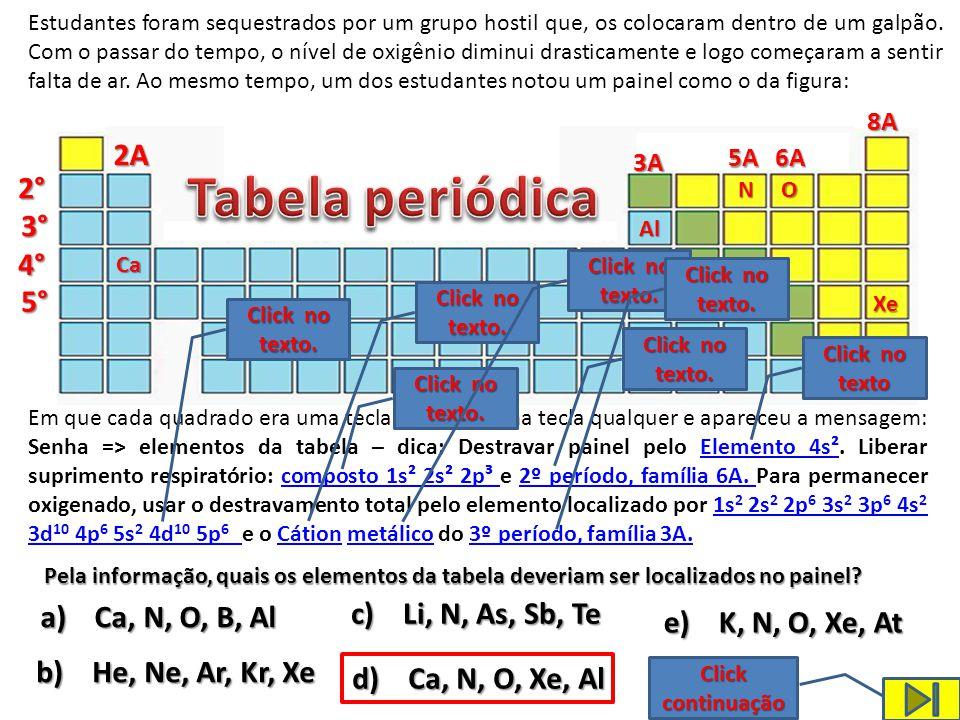 Tabela periódica 2A 2° 3° 4° 5° c) Li, N, As, Sb, Te