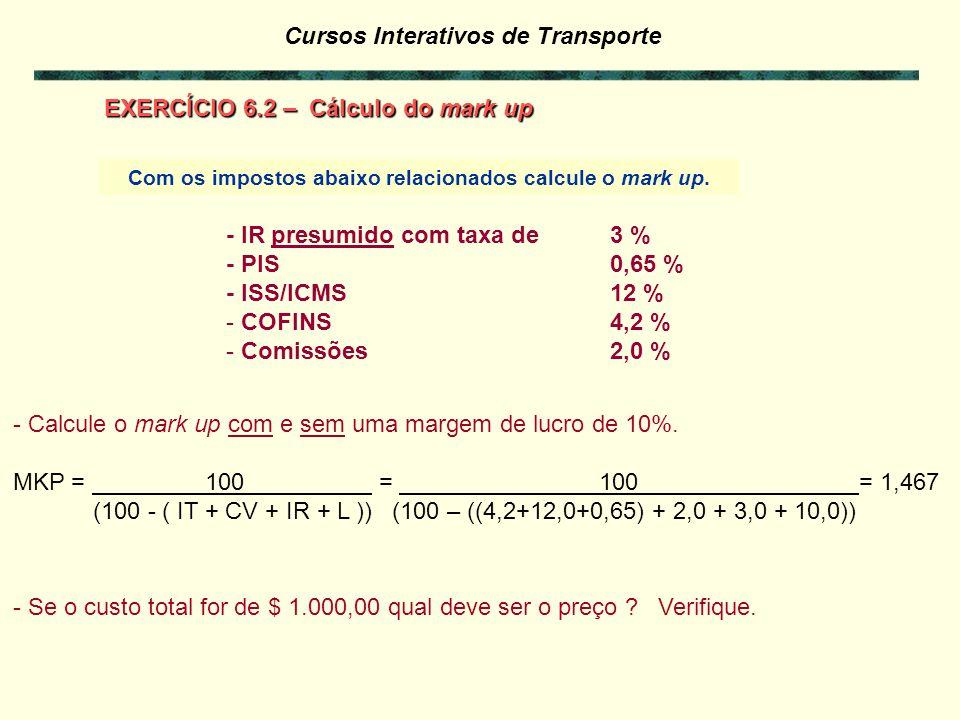 Com os impostos abaixo relacionados calcule o mark up.