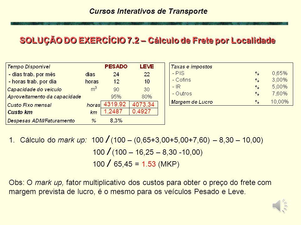 SOLUÇÃO DO EXERCÍCIO 7.2 – Cálculo de Frete por Localidade