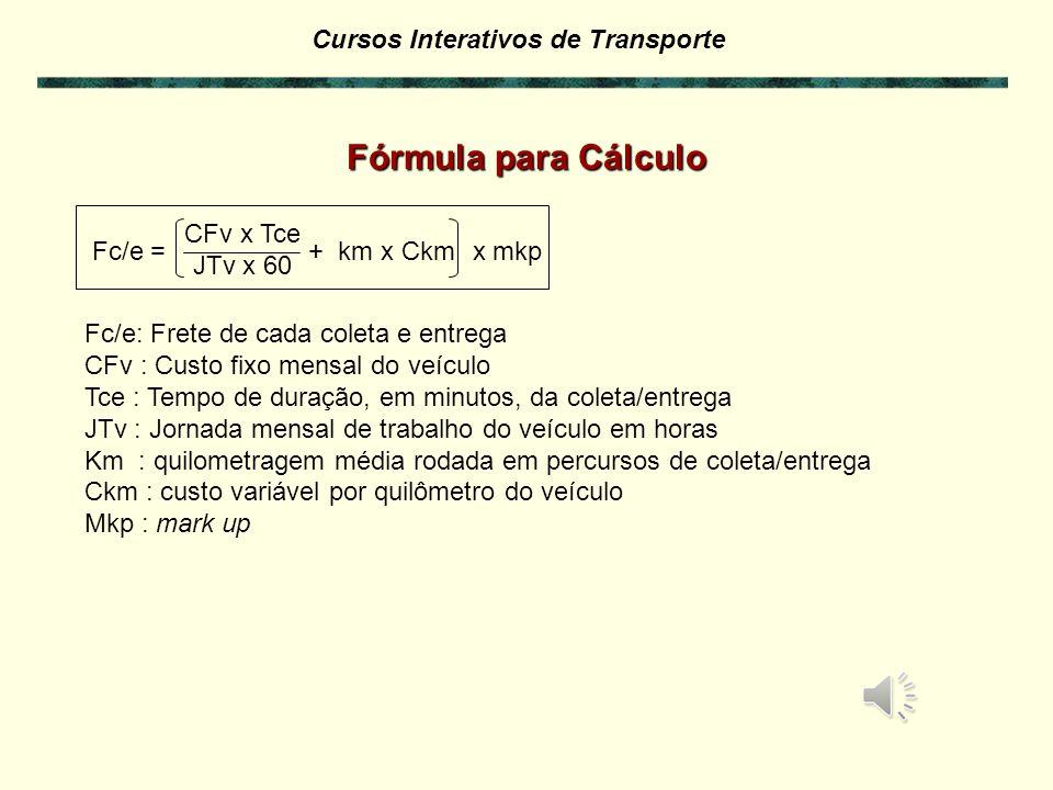 Fórmula para Cálculo CFv x Tce JTv x 60 Fc/e = + km x Ckm x mkp