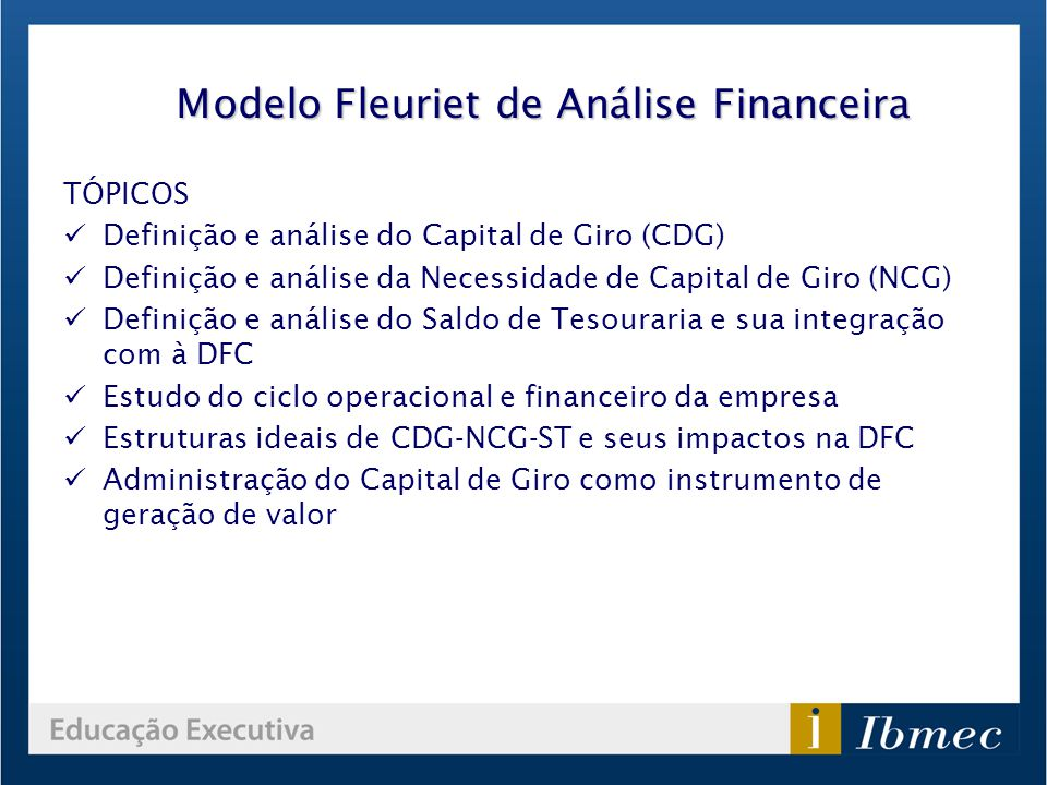 Modelo Fleuriet de Análise Financeira