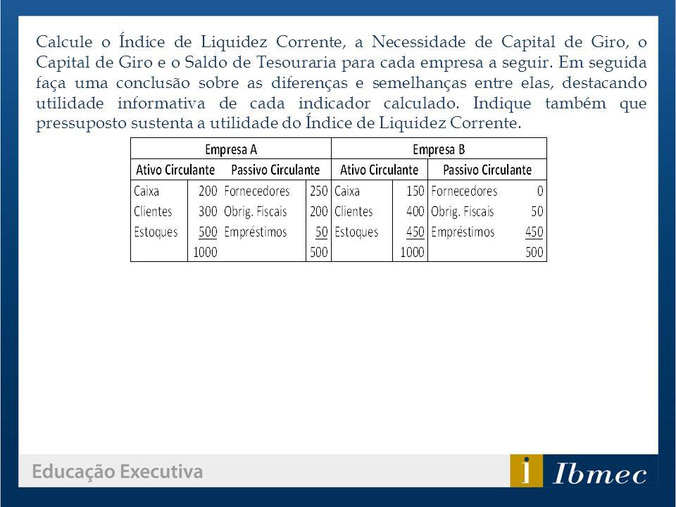 Calcule o Índice de Liquidez Corrente, a Necessidade de Capital de Giro, o Capital de Giro e o Saldo de Tesouraria para cada empresa a seguir.