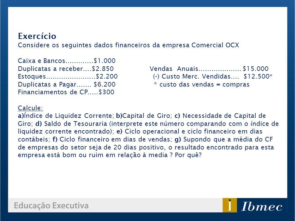 Exercício Considere os seguintes dados financeiros da empresa Comercial OCX. Caixa e Bancos.............$1.000.