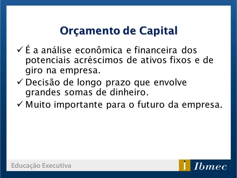 Orçamento de Capital É a análise econômica e financeira dos potenciais acréscimos de ativos fixos e de giro na empresa.