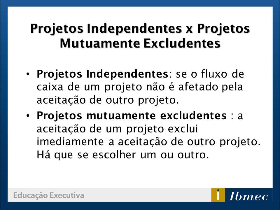 Projetos Independentes x Projetos Mutuamente Excludentes