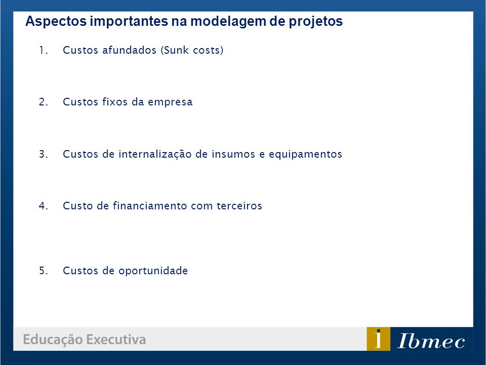 Aspectos importantes na modelagem de projetos