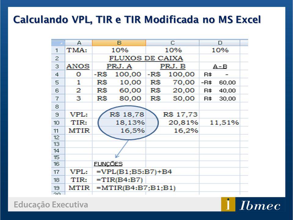 Calculando VPL, TIR e TIR Modificada no MS Excel