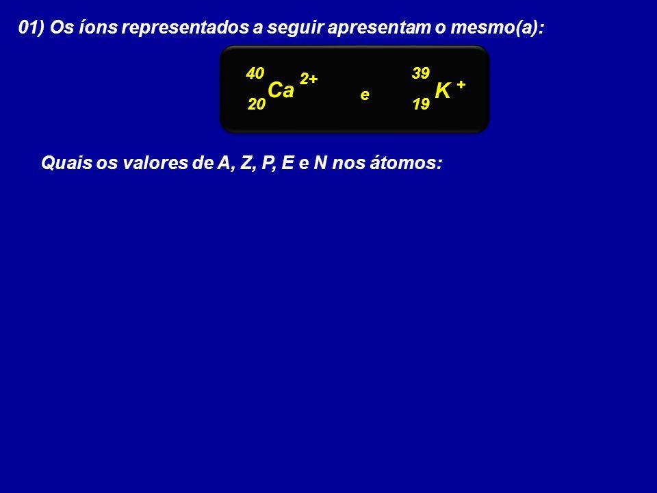 Ca K 01) Os íons representados a seguir apresentam o mesmo(a):