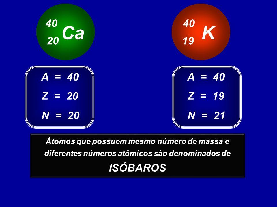 Ca K 40 40 20 19 A = 40 A = 40 Z = 20 Z = 19 N = 20 N = 21 ISÓBAROS