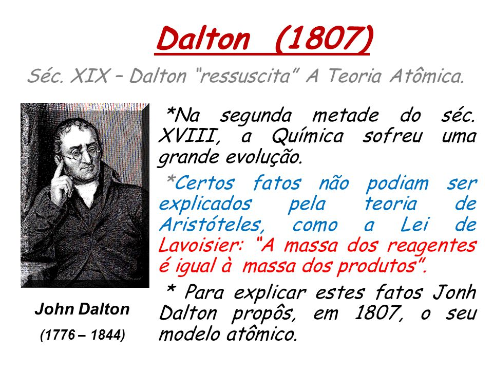 Dalton (1807) Séc. XIX – Dalton ressuscita A Teoria Atômica.