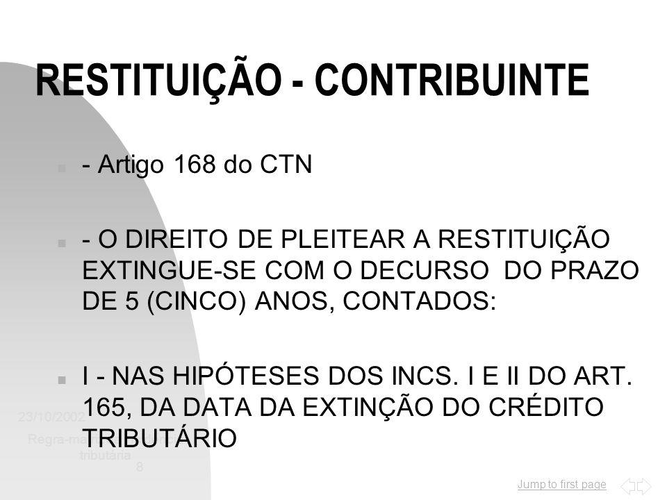 RESTITUIÇÃO - CONTRIBUINTE