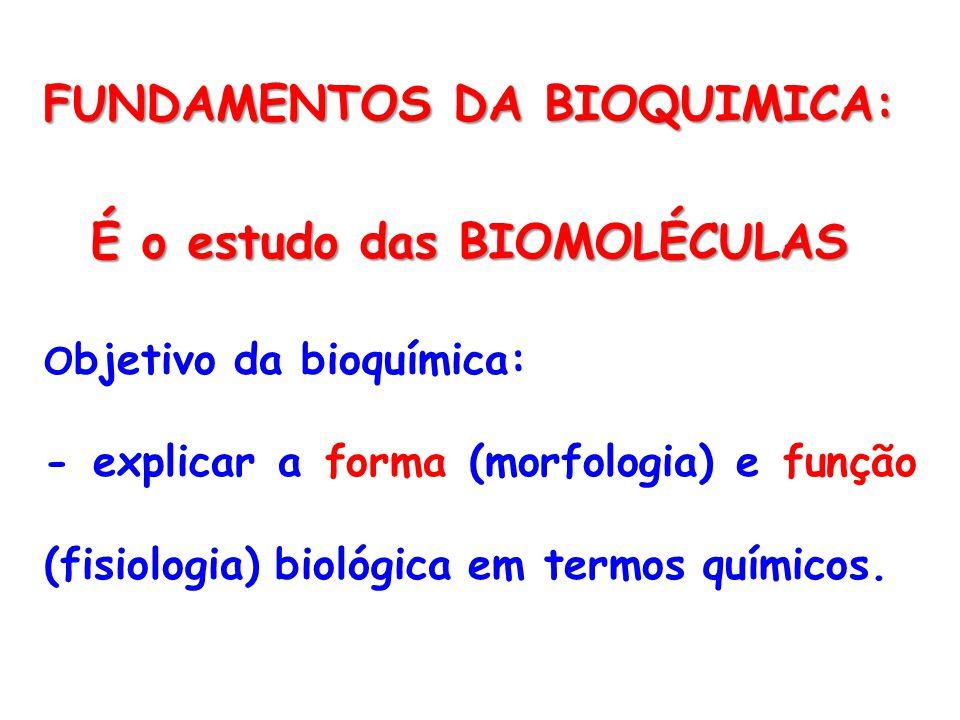 FUNDAMENTOS DA BIOQUIMICA: É o estudo das BIOMOLÉCULAS