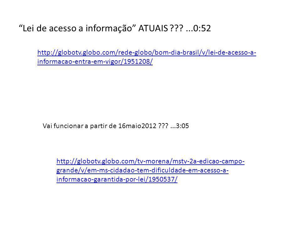 Lei de acesso a informação ATUAIS ...0:52