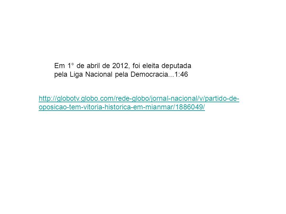 Em 1° de abril de 2012, foi eleita deputada pela Liga Nacional pela Democracia...1:46