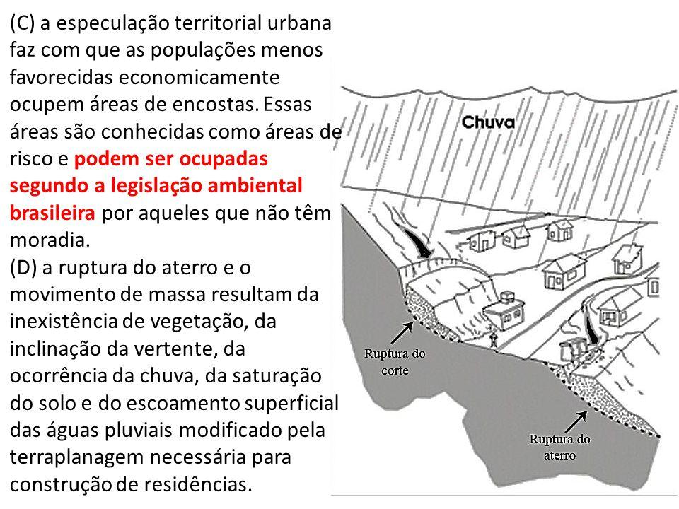 (C) a especulação territorial urbana faz com que as populações menos favorecidas economicamente ocupem áreas de encostas. Essas áreas são conhecidas como áreas de risco e podem ser ocupadas segundo a legislação ambiental brasileira por aqueles que não têm moradia.