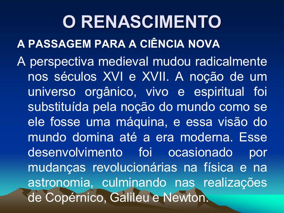 O RENASCIMENTO A PASSAGEM PARA A CIÊNCIA NOVA.