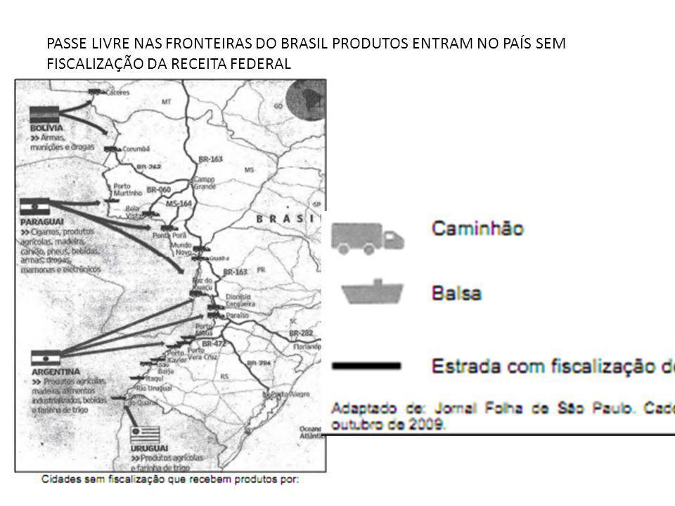 PASSE LIVRE NAS FRONTEIRAS DO BRASIL PRODUTOS ENTRAM NO PAÍS SEM FISCALIZAÇÃO DA RECEITA FEDERAL