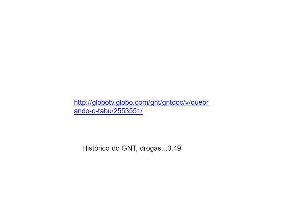 http://globotv.globo.com/gnt/gntdoc/v/quebrando-o-tabu/2553551/ Histórico do GNT, drogas...3:49
